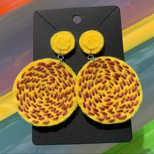 Retro Inspired Felt Embroidered Earrings